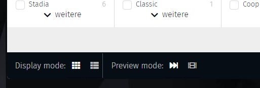 Change display and preview mode